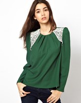 Max C Blouse With Lace Insert