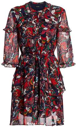 Saloni Tilly Paisley Multicolor Print Silk A-Line Shirtdress