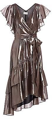 Tanya Taylor Women's Dita Metallic Asymetric Wrap Dress - Size 0