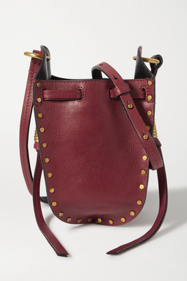 Isabel Marant Radji Studded Leather Bucket Bag - Red
