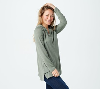 Denim & Co. Heavenly Jersey Crossover V-Neck Tunic w/ Hood
