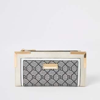 River Island Grey RI monogram fold out purse