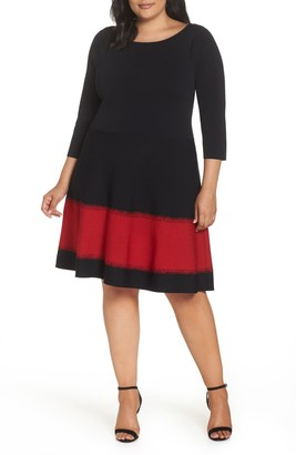 Brinker & Eliza Contrast Stripe Fit & Flare Dress (Plus Size)