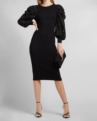 Express Eyelet Lace Puff Sleeve Sweater Dress