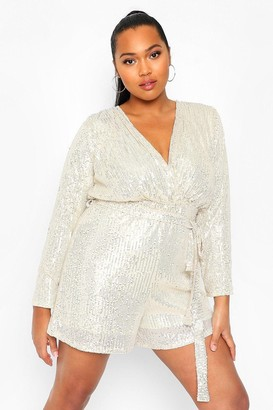 boohoo Plus Sequin Wrap Tie Waist Playsuit