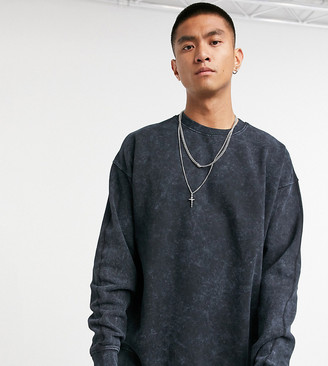 Reclaimed Vintage inspired washed sweat in black