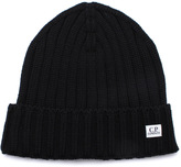 Cp Company Black Wool Knit Beanie Hat