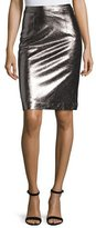 Milly Metallic Leather Pencil Skirt, Gunmetal