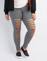 Charlotte Russe Plus Size Slashed Cotton Leggings