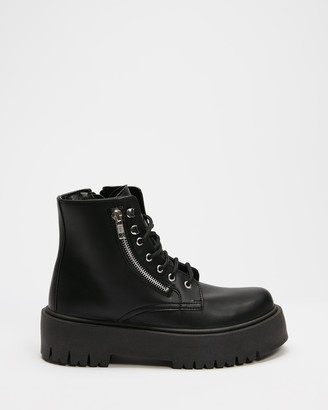 Topshop Women's Black Lace-up Boots - Bounce Zip Chunky Boots - Size 37 at The Iconic