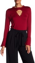 Adrianna Papell Lace Trim Keyhole Knit Top