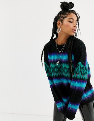 Emory Park oversized fluffy knit fairisle sweater