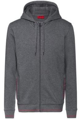 HUGO Zip-through hoodie in cotton terry with logo pocket