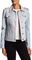 BCBGMAXAZRIA Denim & Faux Leather Moto Jacket