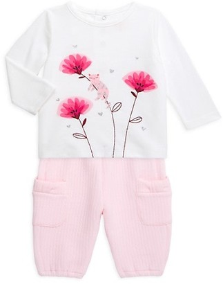 Catimini Baby Girl's 2-Piece Floral Print T-Shirt & Pants Set