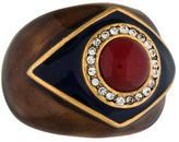 Oscar de la Renta Enamel Crystal Cocktail Ring