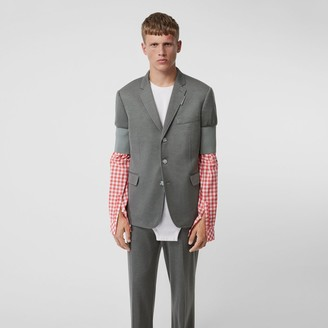 Burberry Slim Fit Panelled-sleeve Cashmere Silk Jersey Blazer