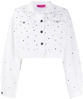 Ireneisgood Denim Cropped Embellished Jacket