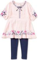 Flapdoodles Little Girls 2T-6X Heart-Print Dress & Solid Leggings Set