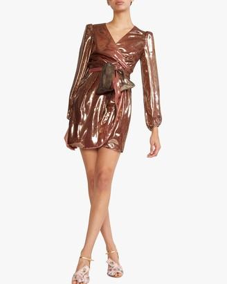 Cynthia Rowley Rocky Silk Lame Wrap Dress