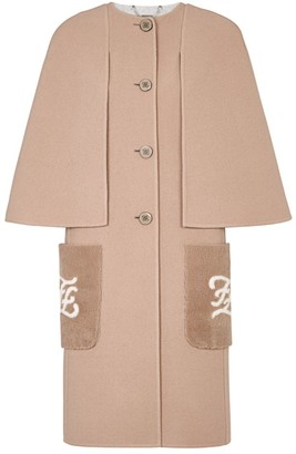 Fendi Double-Faced Wool Karligraphy Shearling-Pocket Cape-Effect Coat