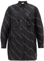 Ganni Micro Floral-print Linen-blend Shirtdress - Womens - Black Multi