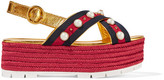 Gucci Embellished Metallic Leather Espadrille Platform Sandals - IT37.5