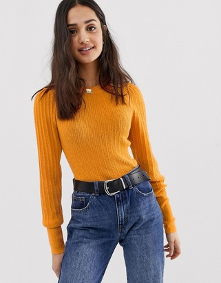 ASOS DESIGN rib knit sweater in natural look yarn