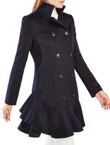 BCBGMAXAZRIA Talia Ruffled Double Breast Wool-Blend Coat