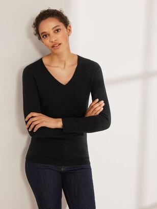 John Lewis & Partners Cashmere Rib Trim V-Neck Sweater, Black