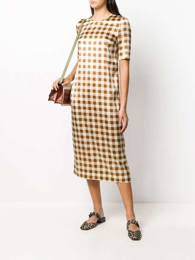 Thumbnail for your product : Ganni Gingham Check Shift Dress