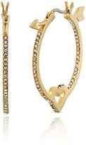 Kate Spade Clear/Gold-Tone Heart and Arrow Hoop Earrings