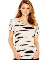 Kensie Short-Sleeve Animal-Print Striped Tee