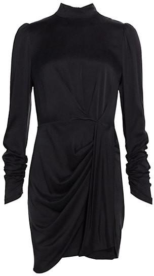Zimmermann Ladybeetle Drape Long-Sleeve Silk-Satin Sheath Dress
