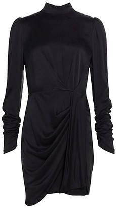 Zimmermann Ladybeetle Drape Long-Sleeve Silk-Satin Sheath Dress