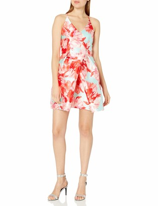 Amy Byer A. Byer Women's Printed Fit and Flare Dress with Envelope Skirt