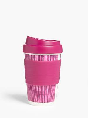 John Lewis & Partners Striped Plastic Reusable Travel Cup, 340ml
