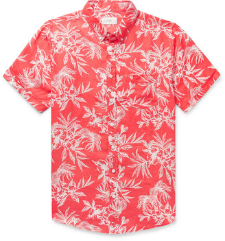 Onia Jack Button-Down Collar Floral-Print Linen Shirt