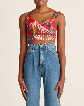 Red Carter Tropical Palm Crop Top