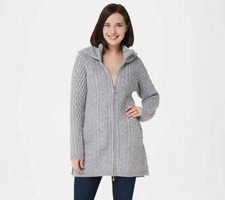 Aran Craft Merino Wool Zip-Front Hooded Sweater Cardigan