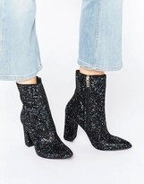 Carvela Garnet Glitter Point Heeled Ankle Boots