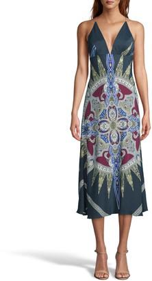 Nicole Miller Indigo Medallion Silk Midi Slip Dress