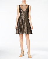 Betsey Johnson Sequin Illusion Fit & Flare Dress