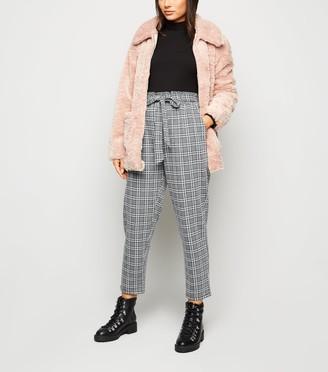 New Look Petite Light Check High Waist Trousers