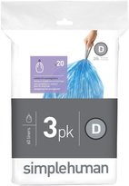 Simplehuman code D custom fit recycling liners 3 x 20pk (60 liners) - Blue