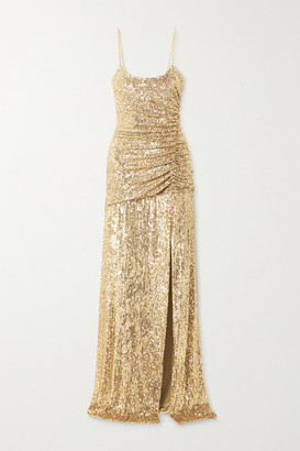 Dundas Ruched Sequined Stretch-jersey Gown - Gold