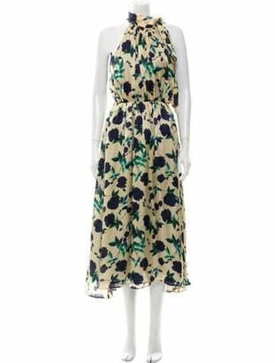 Parden's Floral Print Long Dress Gold