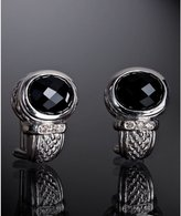 black onyx and diamond medium j hoop earrings