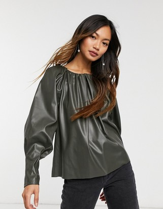 ASOS DESIGN leather look smock top with gathered neck detail in khaki