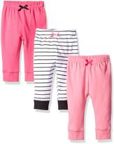 Luvable Friends Baby Girls 3 Pack Tapered Ankle Pants, Light Pink,Navy,Grey, 3-6 Months